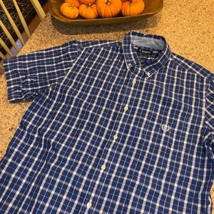 Chaps Easy Care Blue Short Sleeve Shirt - Large